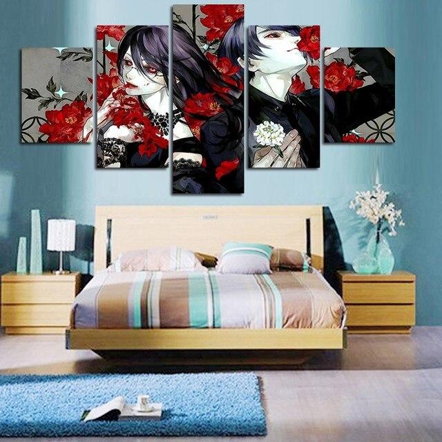 5 panel canvas schilderij frameloze tokyo ghoul tekenfilm for Schilderij woonkamer