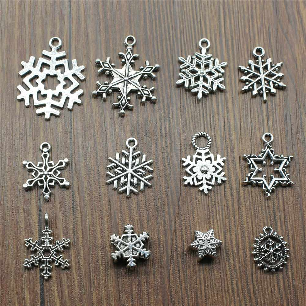 15pcs/lot Snowflake Charms Antique Silver Color Snowflake Charms Pendants For Bracelets Christmas Charms Snowflake