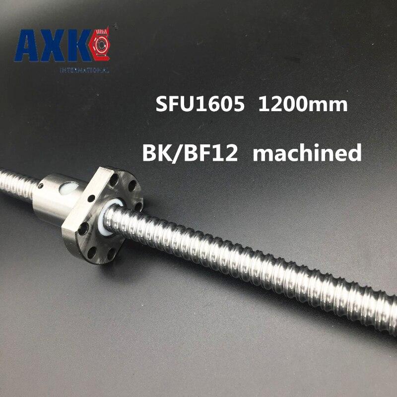 Linear Rail AXK Axk Sfu1605 1200mm Rolled Ball Screw C7 Grade With 1605 Flange Single Nut For Bk/bf12 End Machined Cnc Parts 16mm 1605 ball screw rolled c7 ballscrew sfu1605 950mm with one 1500 flange single ball nut for cnc parts