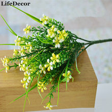 Фотография 5-color Artificial Flowers With Green Grass Plastic Simulation Plants For Home Office Wedding Party Decoration Free Shipping
