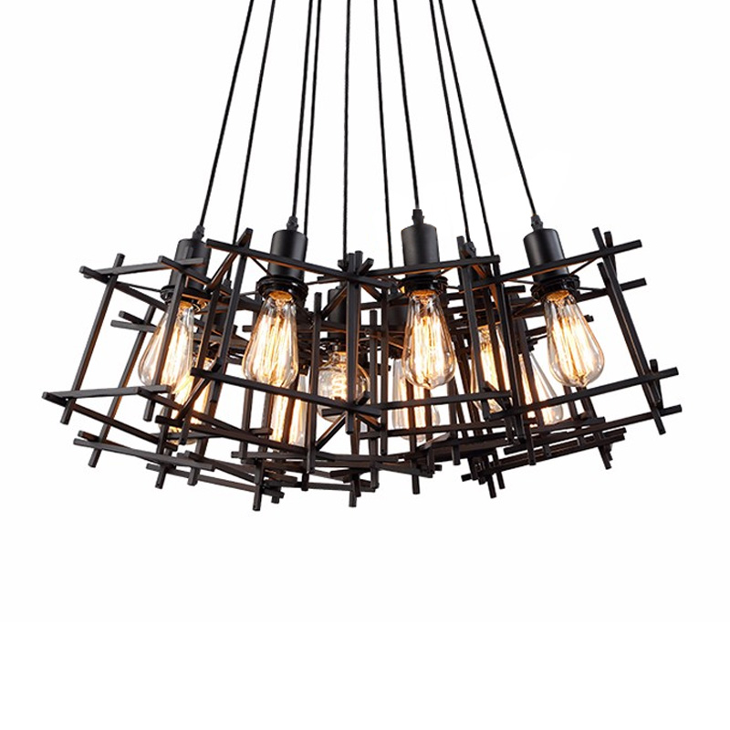 Loft vintage pendant lights for dining room restaurant Edison E27 socket bulbs 7/9/12 heads hanging lamp with Iron lampshade vintage black industrial pendant light restaurant dining room 6 edison bulbs ring retro iron hanging lamp