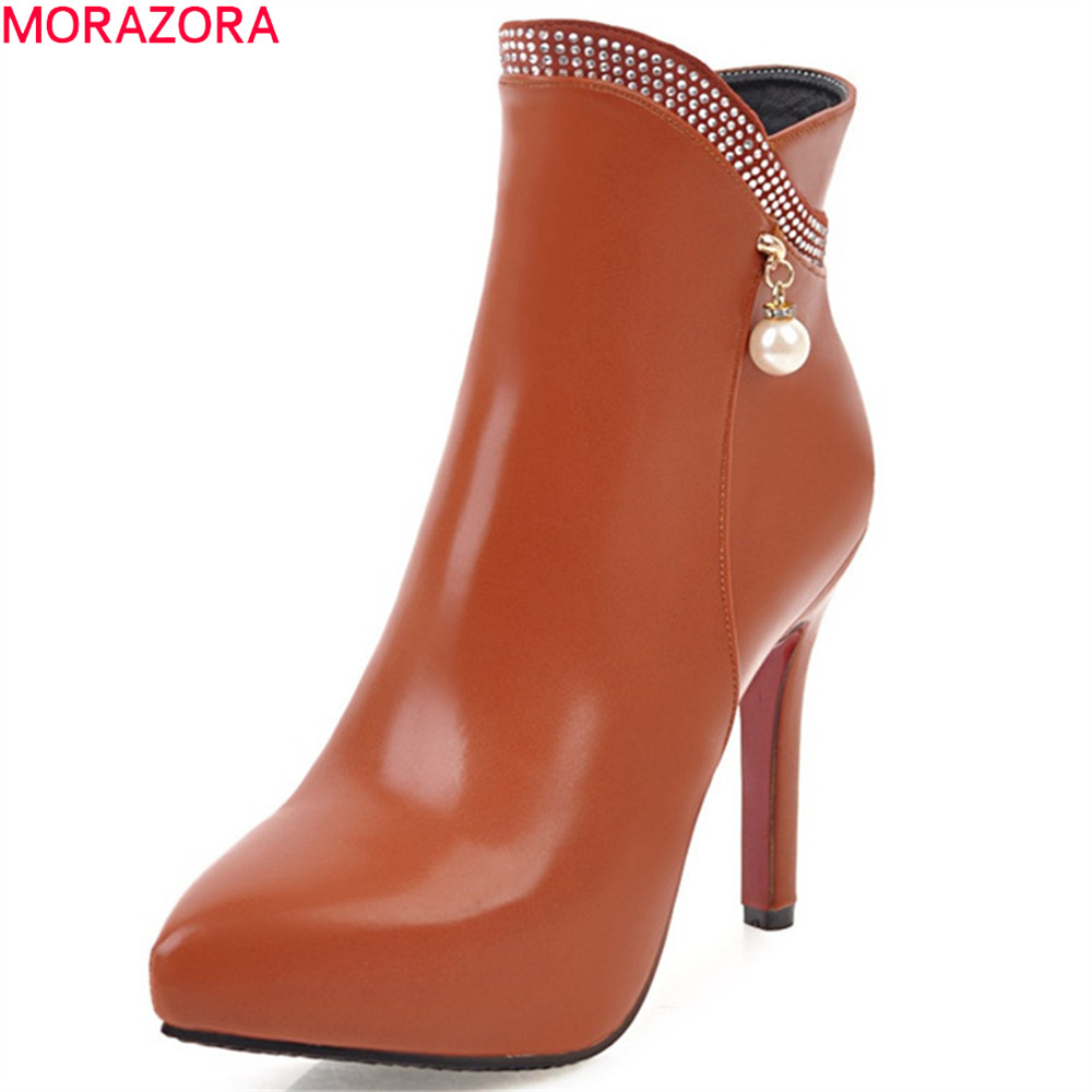 MORAZORA 2018 autumn new arrive women boots pointed toe zipper ladies boots thin heel super high platform ankle boots big size