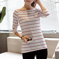 2017 Women T-Shirt Slash Neck Striped Long Sleeve Sweater Women Fashion Bottoming Shirt Red