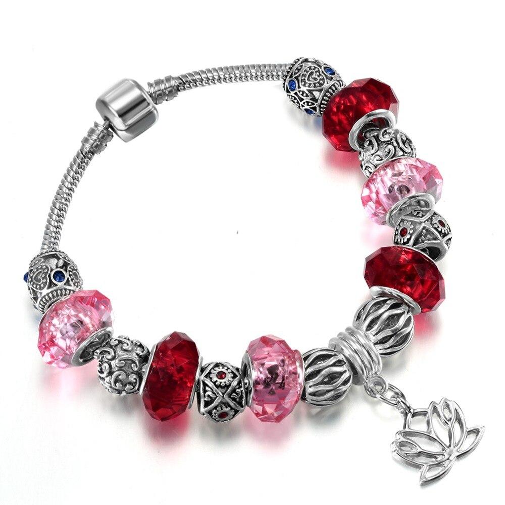 QIMING Female Red Bracelet Femme Crystal Plastic Beads Silver Tibetan Jewelry Accessories Lotus Women Bracelets Girlfriend Gift