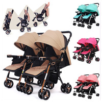 Twins Baby Stroller Can Split Sitting Lying Double Baby Stroller for Twins Light Four Wheels Pram Pushchair Travel Car Stroller