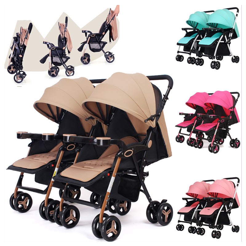 Twins Baby Stroller Can Split Sitting Lying Double Baby Stroller for Twins Light Four Wheels Pram Pushchair Travel Car Stroller angelguard high landscape twins baby stroller can split ultra light umbrella can be two color twins baby stroller