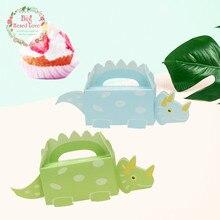 10 шт. коробка для конфет в виде динозавра, бумажные подарочные коробки для детей, украшения для дня рождения, самодельные принадлежности для душа YH13