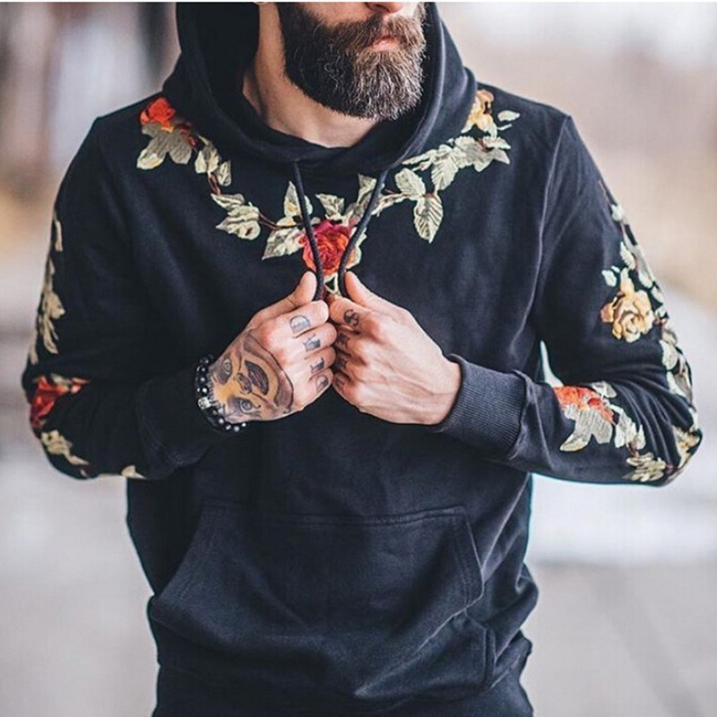 FDWERYNH Flower Embroidery Hoodies 2019 Autumn Men Hip Hop Streetwear Hoodies Sweatshirts Pullover Oversized Tops