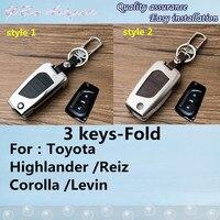 Pour TOYOTA Highlander Reiz Corolla Levin Mark-X de voiture en cuir + en alliage de Zinc Métal clés sac chaîne de clé de cas portefeuille fold lampe 1 pcs