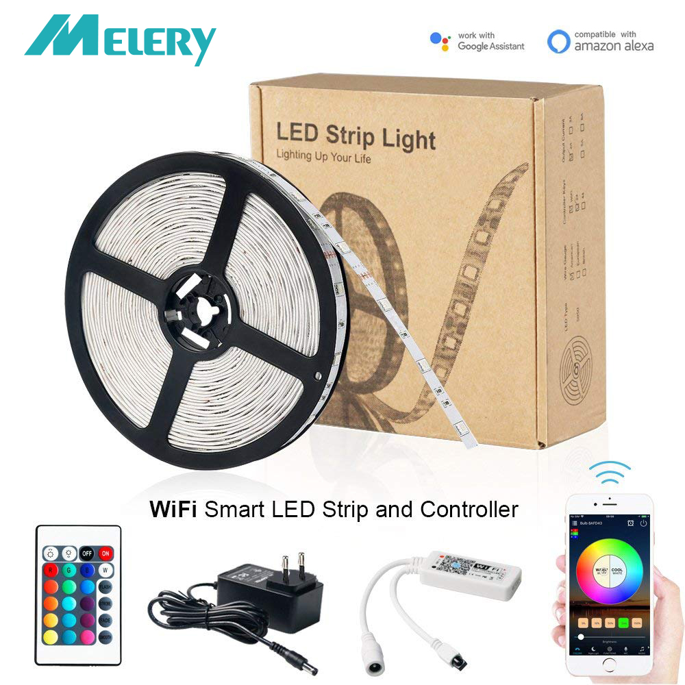 WIfi Smart LED Strip 5050RGB 30LEDS/M Controller Set APP Controlled 16M Colors Waterproof Works with Amazon Alexa,Goolge Home-in LED Strips from Lights & Lighting    1