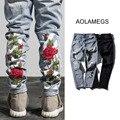 Aolamegs Destroyed Jeans Hole Hombres Rayas Calientes de La Manera Floral Bordado Pantalones Vaqueros 2016 Otoño Invierno Nueva Apenada Denim Pantalones