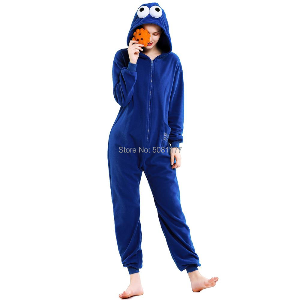 Unisex Adult Cartoon Anime Sesame Street  Cookie Monster  Costume Onesie Elmo Cosplay Pajamas Zipper Closure