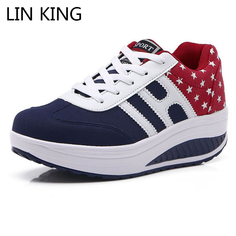 LIN KING Fashion Mixcolor Wedges Women Platform Shoes Height Increase Swing Elevator Shoes Comfortable Lace Up Ankle Work Shoes lin king women casual shoes leisure lace up wedge shoes fashion low top massage ankle shoes solid massage outdoor single shoes