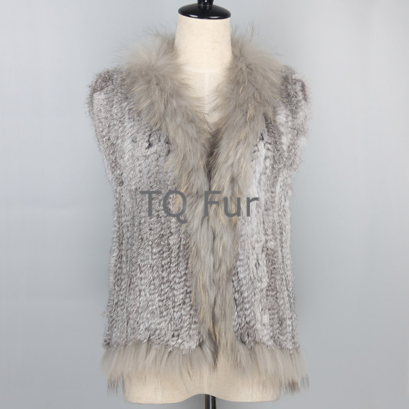 Real Fur Vest Female  Fashion Knitted Rabbit Fur Gilet With Raccoon Fur Collar Women Fur Vest