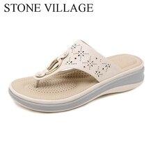Été en plein air plage tongs pantoufles femmes anti dérapant confortable compensées talons plate forme chaussures femme pantoufle de haute qualité