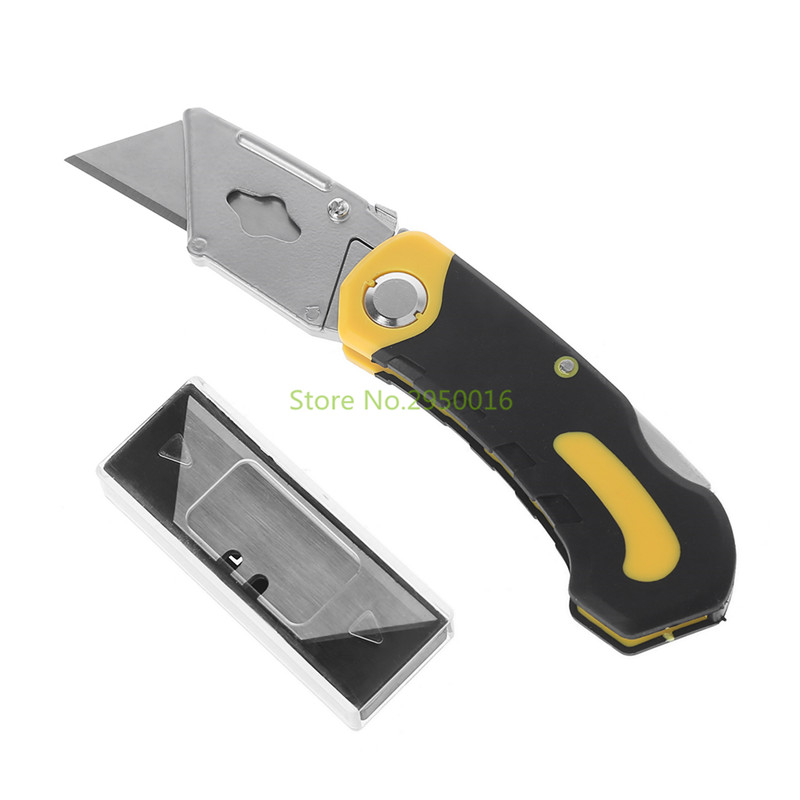 Professional Folding Utility Knife Stainless Steel Woodworking Outdoor Camping Knifes + 3 Replacement Blades Art Supplies C26