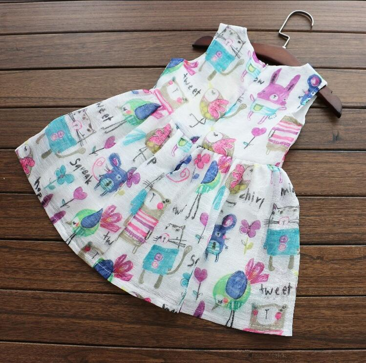 Children's wear new 2016 baby girls graffiti cute little animal vest even sweet princess dress is suitable for 2- 7 years old