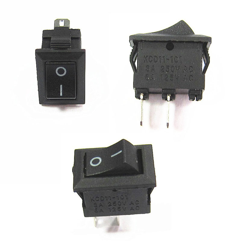 Color: No.3 5pcs KCD11 Mini Power Supply Rocker Switch 2 3 Pin 2 Level 250V 2A OFF-ON Multiple Colour Multifunctional Accessories
