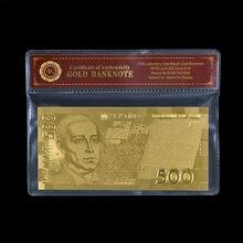 Caliente nueva Ucrania moneda UAH 500 metal oro laminada en papel aluminio billetes de papel oro dinero con VOA marco