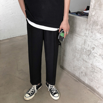 Mens solid color casual pants 2019 summer wild young people personality fashion trend mens clothing