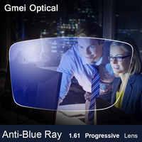 Lente Anti-Blue Ray 1,61 libre forma progresiva prescripción óptica lentes más allá UV azul bloqueador lente para la protección de los ojos