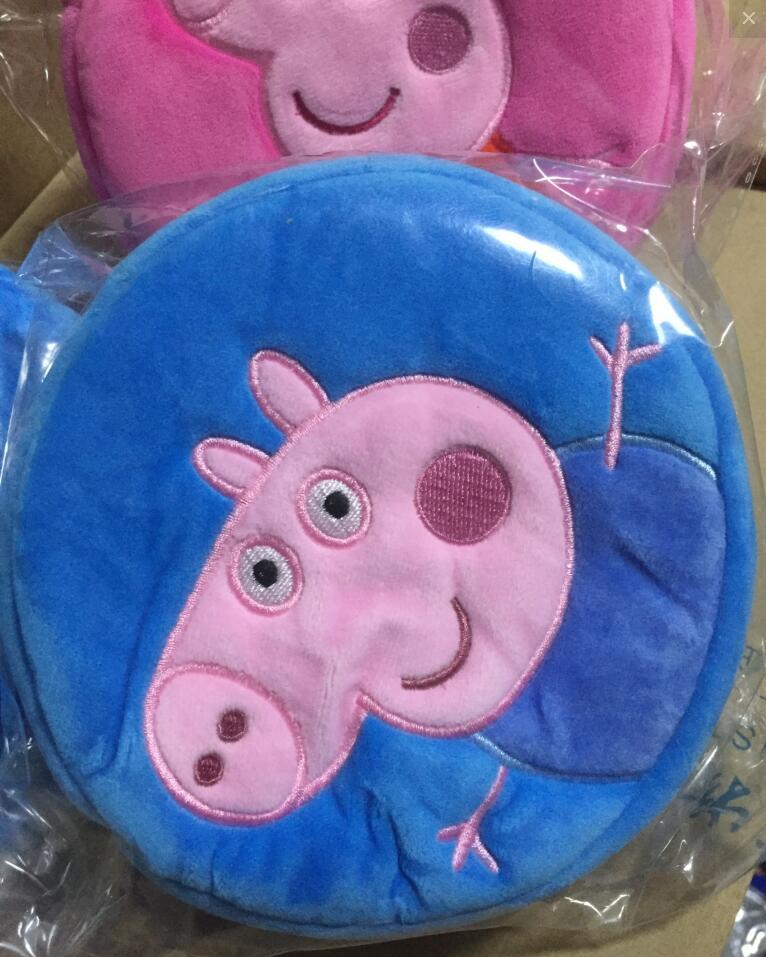 Genuine Peppa Pig 16*16cm Plush Backpacks kids coin purse peppa Goerge round bag plush toys kids cute gift toy 1pc 2