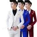 Бесплатная доставка новый Корейский Мужская повседневная костюм Slim fit мальчики выпускного вечера костюмы 3-х частей королевский синий мужской костюм свадьба красный смокинг куртка