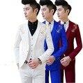 Frete grátis nova Coreano Homens casuais terno Slim fit meninos prom ternos 3-piece azul royal mens terno do casamento smoking vermelho jaqueta