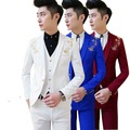 free shipping new Korean Mens casual suit Slim fit boys prom suits 3-piece royal blue mens suit wedding red tuxedo jacket