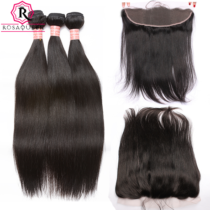 13x4 Lace Frontal Closure Straight Brazilian Hair Weave 4 Pcs 3 Human Hair Bundles With Closure Remy Rosa Queen Hair Products