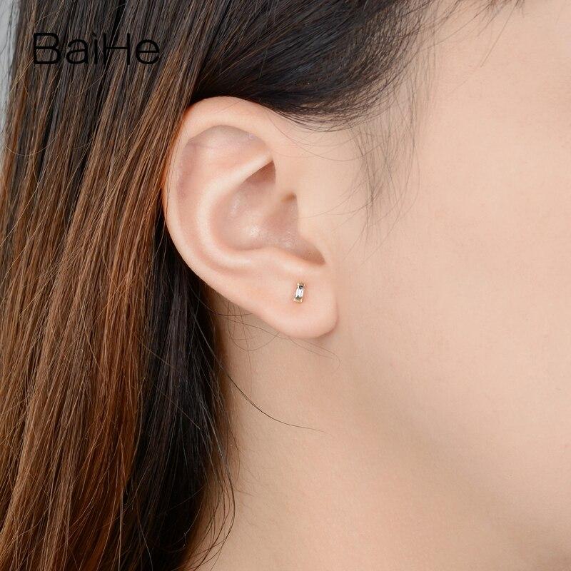 BAIHE Solid 14K Rose Gold 0.12ct H/SI Natuurlijke Diamanten Engagement Trendy Fijne Mode sieraden Man Vrouwen Gift stud Oorbellen - 6