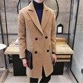 2016 Dos Homens venda quente casaco corta-vento de inverno jovens estudantes Coreanos cultivo no longo maré dos homens double breasted casaco de lã