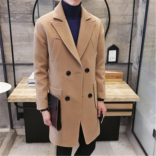 2016 hot sale Men's windbreaker winter coat young Korean students cultivation in the long tide men's double breasted woolen coat