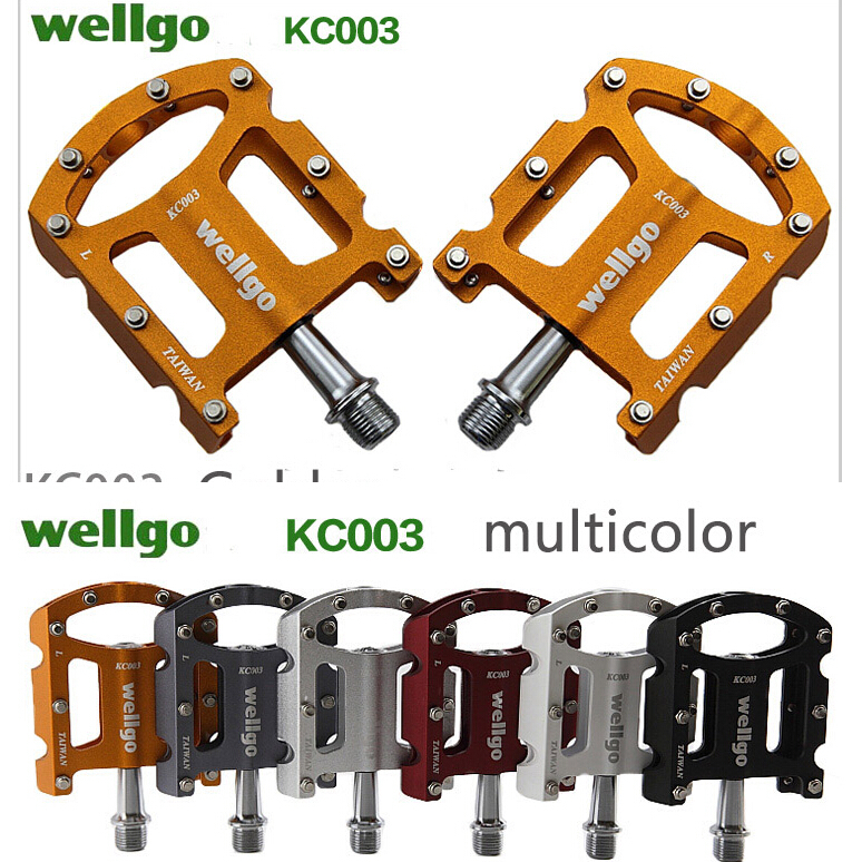 """WELLGO MG-3 Fixed Pin Glossy Bike Pedals for MTB BMX DH Platform 9//16/"""" 5 Colors"""