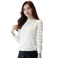 Plus Size Elegant Women Lace Blouse Long Sleeve Autumn White Lace Shirt Hollow Crochet Korean Women