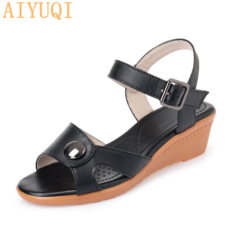 AIYUQI Women sandals genuine leather 2019 summer new female Roman sandals wedge lady sandals plus size 41 42 43 shoes women in Middle Heels from Shoes
