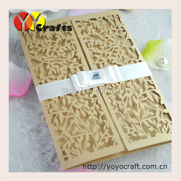 promotion hollow leaves laser cut wedding invitation card with