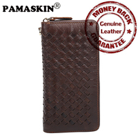 PAMASKIN Brand Luxurious Handmade Knitting Weave Pattern Premium Genuine Leather Long Wallets For Men 2017 Male