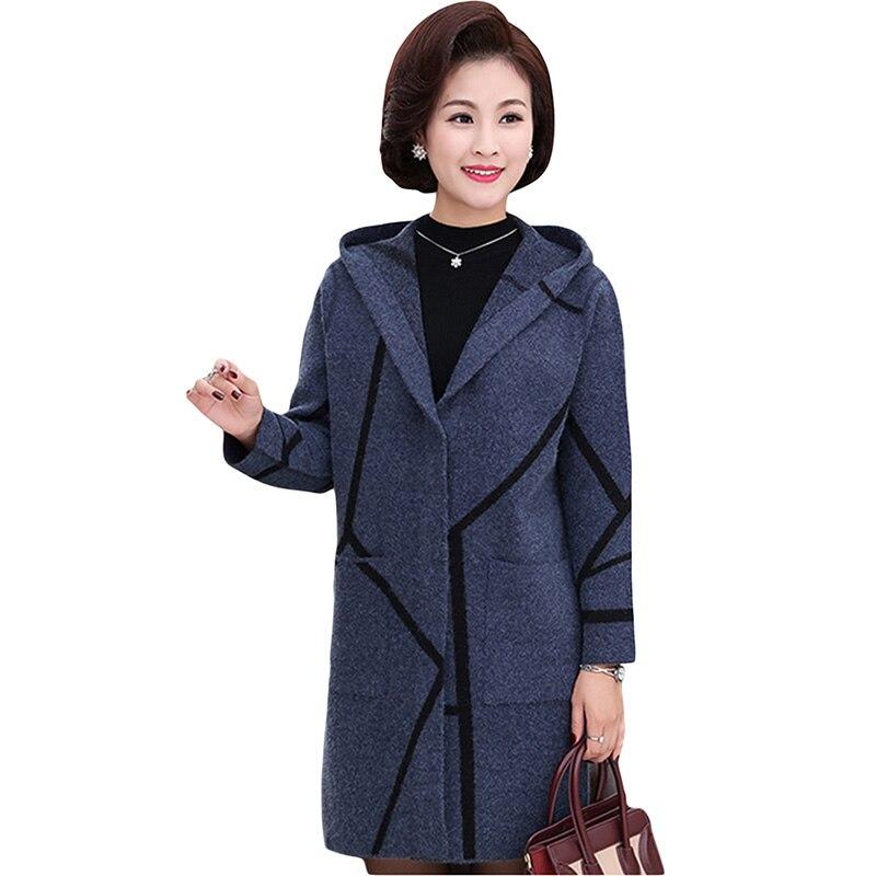 Haute qualité cachemire Cardigans chandail manteaux 2018 nouveau moyen-âge à capuche longue femmes chandail veste hiver femme pull YP1215