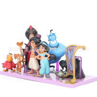 Disney 9pcs Model Aladdin Jasmine Princess Active Finger Evil Light Wizard Pet Monkey Tiger Parrot Doll Decoration Cartoon Toys