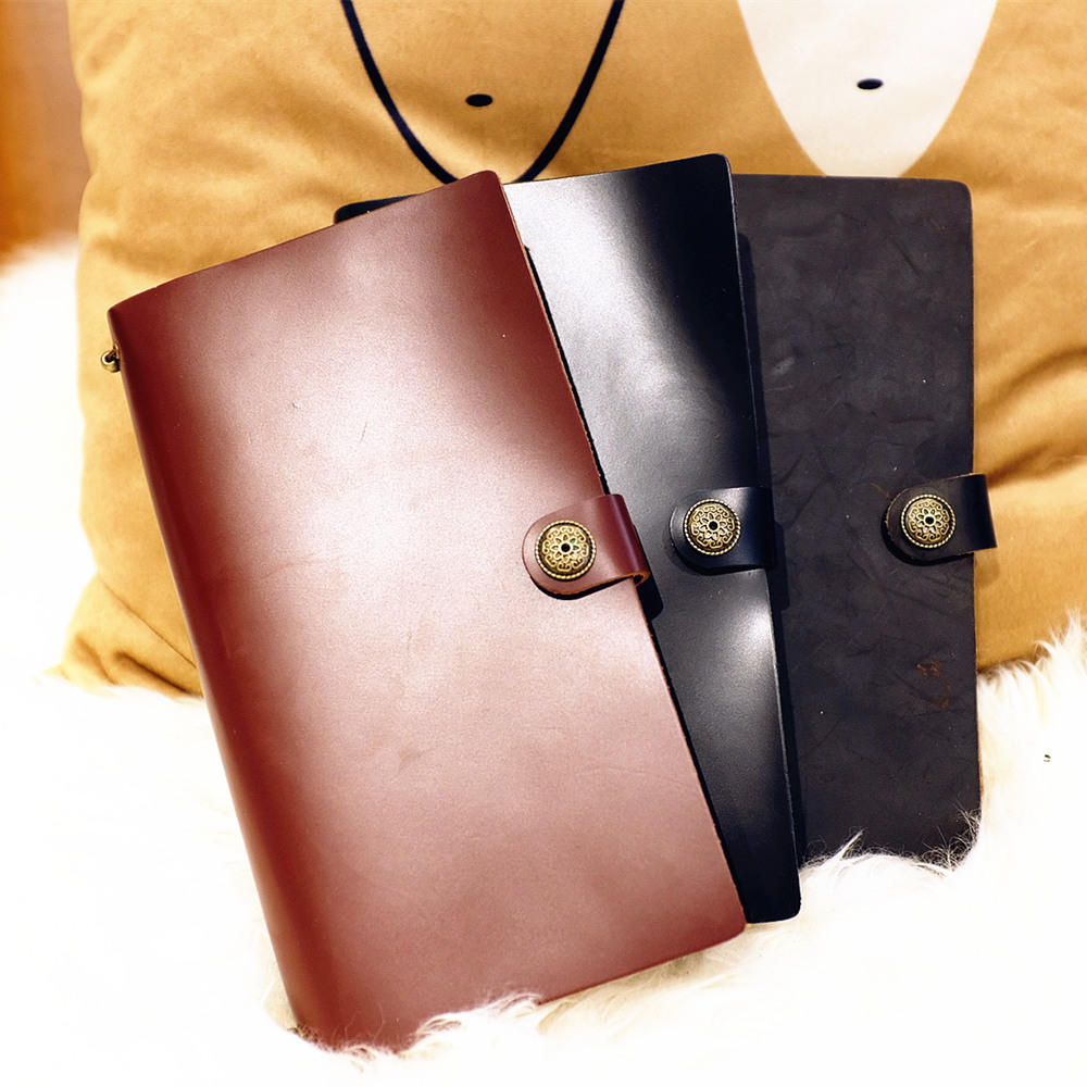 """""""Endless Magic L"""" Large Real Genuine Cowhide Leather Travel Journal Business Notebook Study Diary Blank Lined Grid Papers"""