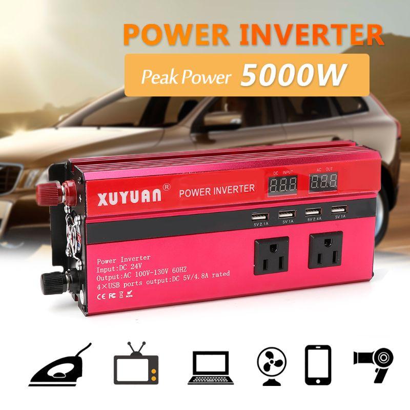 Onduleur 12 V/24 V 220 V 5000 W crête onduleur convertisseur tension transformateur onde sinusoïdale inverseur 12 V/24 V 110 V + écran LCD