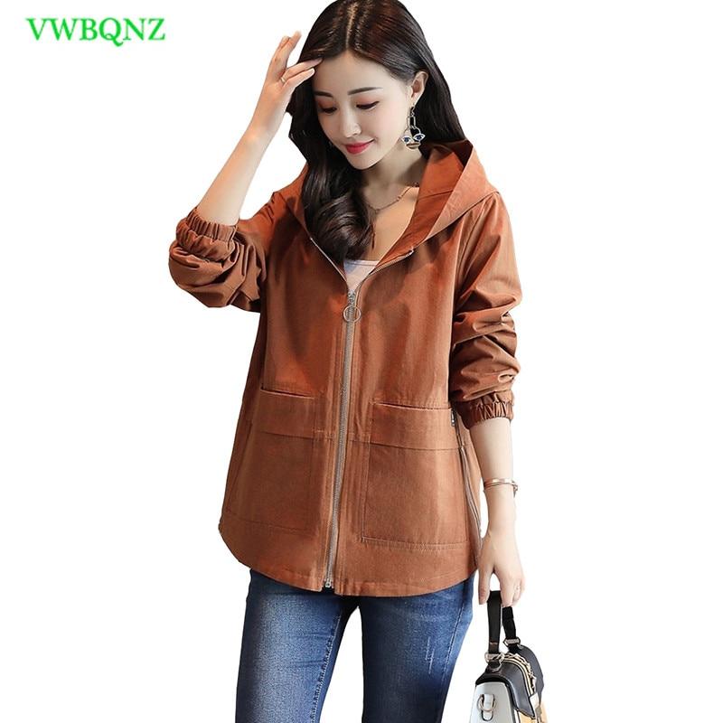 Short Windbreaker Coat Women Spring Autumn Loose Thin Wild Hooded   Trench   Coat Women's Fashion Raglan sleeves Casual Overcoat 120