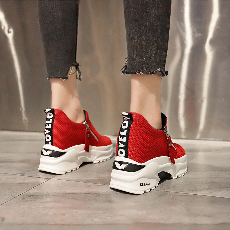 Lucyever 2019 New Spring Ladeis Casual Sneakers Women Height Increasing Vulcanized Shoes Woman Footwear Leisure Ankle Boots 14