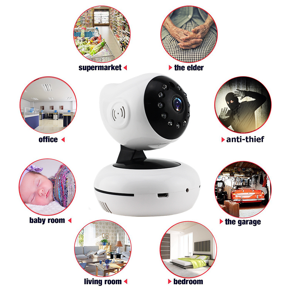 9XQ-720P Mega pixel Night Vision IR Webcam CCTV Camera WiFi Wireless HD IP Camera Pan Tilt Security TF Card Storage P2P H.264 Hot