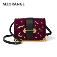 MZORANGE Vintage Suede Genuine Leather Women Box Handbag 2017 Fashion Metal Moon Stars Design Mini Flap