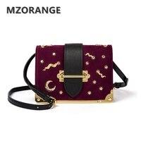 MZORANGE Vintage Suede Genuine Leather Women Box Handbag 2018 Fashion Metal Moon Stars Design Mini Flap