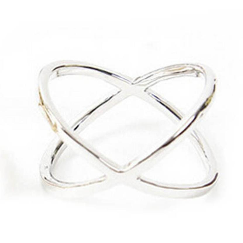GEMIXI Women Finger X Cross Three-dimensional Hollow Out Alloy Ring 4.20