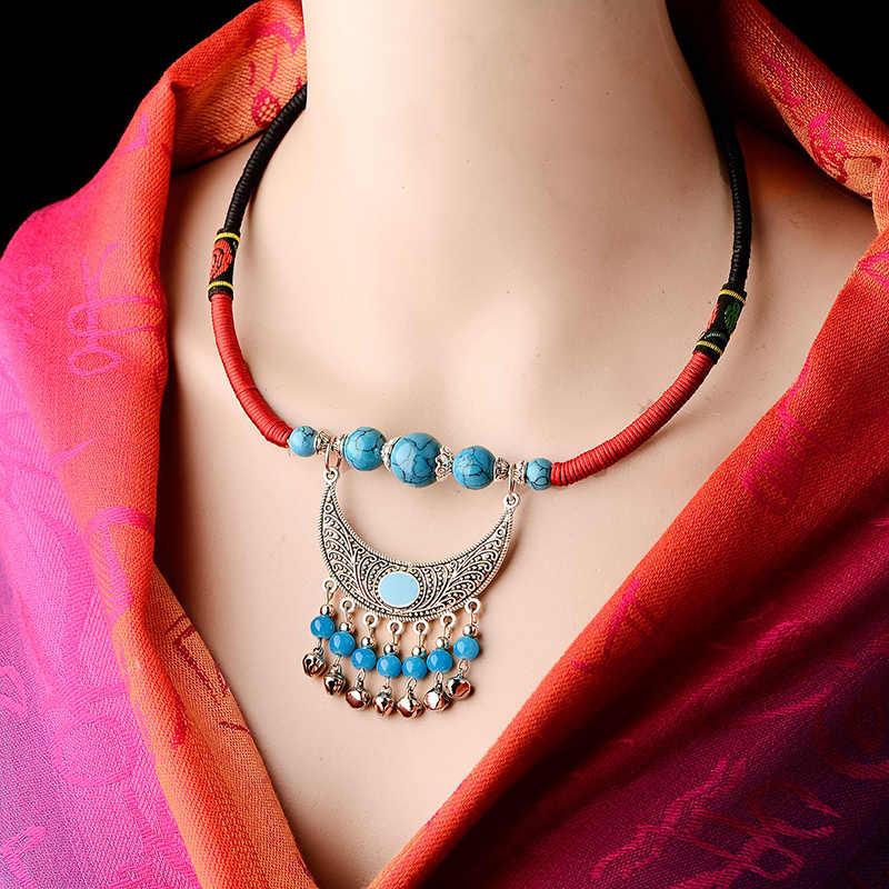 Declaración tibetana collar mujer cadena étnica gargantilla Luna collar pedantes de piedra collares joyería de moda 2019 Dropshopping