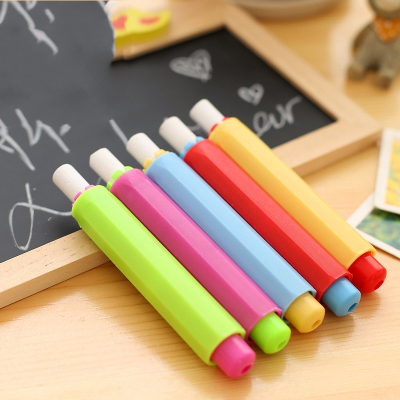 5Pcs New 9.5*1.8cm Candy Color Non-toxic Chalk Holder Chalk Clip Clean Teaching Hold For Teacher Children Stationery